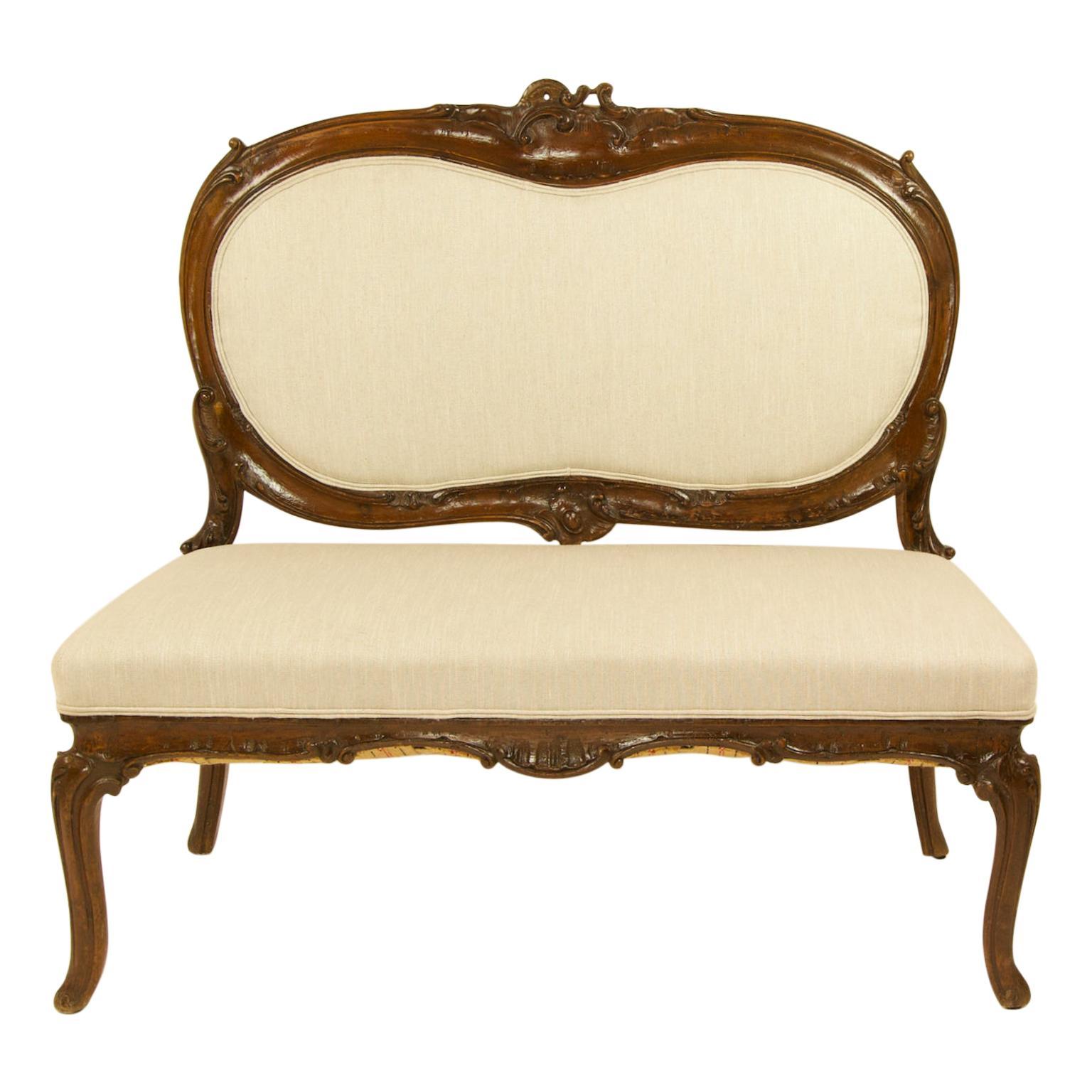 Italian 18th Century Rococo Carved Walnut Sofa or Canape