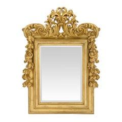 Italian 18th Century Roman Rectangular Giltwood Mirror