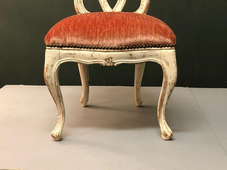 Carved Italian 18th Century Slipper Chair For Sale