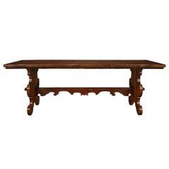 Italian 18th Century Solid Walnut Trestle Table from Tuscany