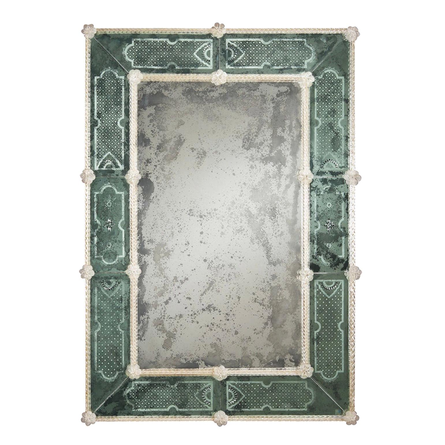Italian 18th Century Style Antiqued and Etched Venetian /Murano Glass Mirror