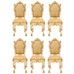 Italian 18th Century Venetian Patinated and Giltwood Dining Chairs, circa 1760