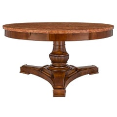 Italian 18th Century Walnut and Marble Tuscan Center Table