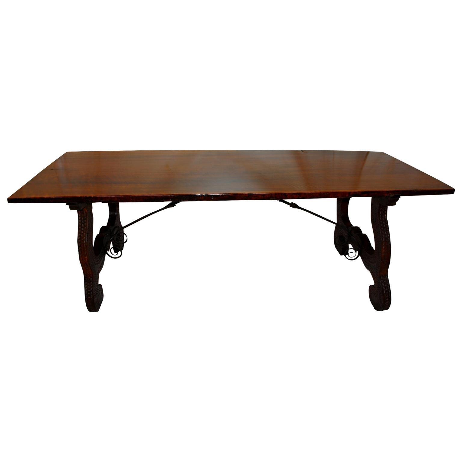Italian 18th Century Walnut Refectory Table with Single Board Top