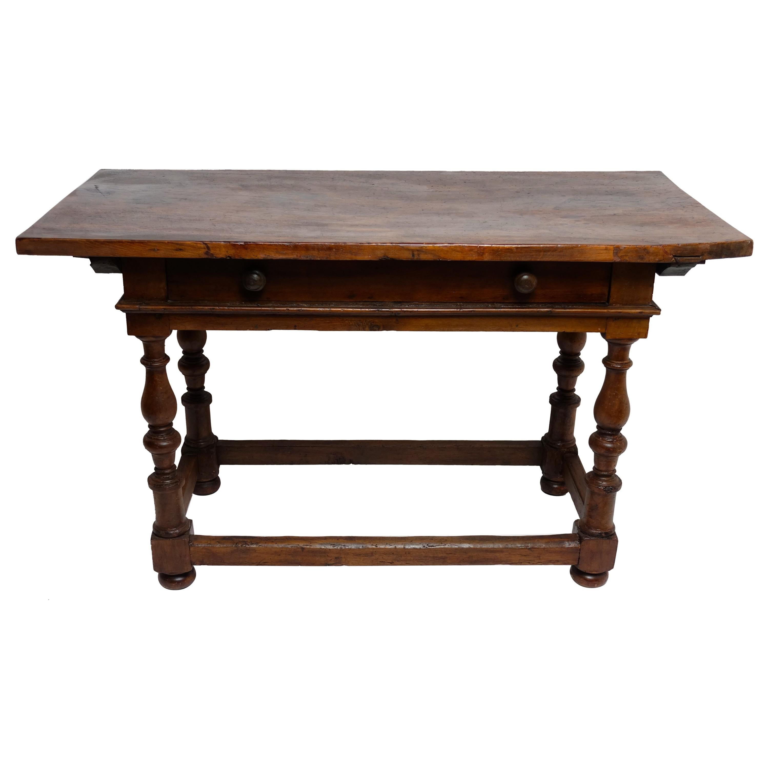 Italian 18th Century Walnut Table with Large Drawer