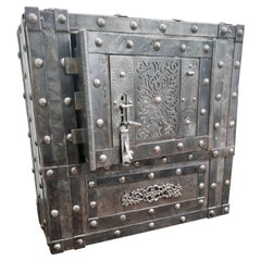 Italian 18th Century Wrought Iron Studded Antique Safe Strongbox Dry Bar Cabinet