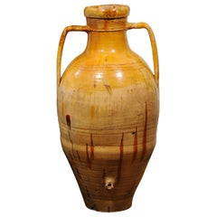 Italian 18th Century Yellow Glazed Olive Oil Jar with Large Double Handles
