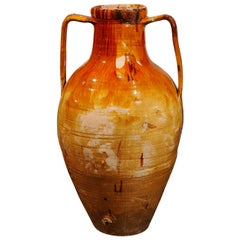 Italian 18th Century Yellow Glazed Two-Handled Olive Oil Jar with Patina