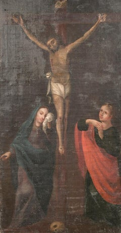 18th CENTURY ITALIAN OLD MASTER OIL ON CANVAS - THE CRUCIFIXION CHRIST ON CROSS