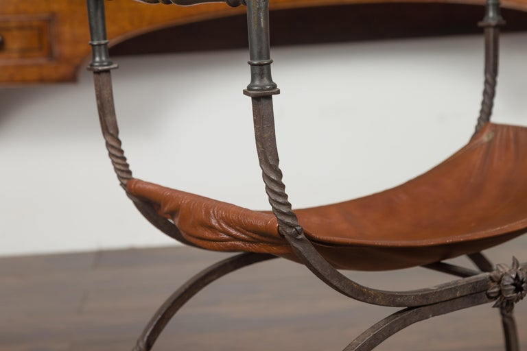 Italian 1900s Leather Seat Iron Folding Curule Stool with Toupie Finials For Sale 6