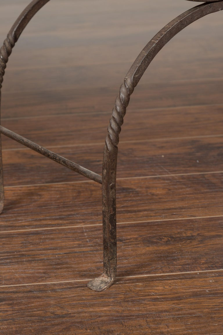 Italian 1900s Leather Seat Iron Folding Curule Stool with Toupie Finials For Sale 7