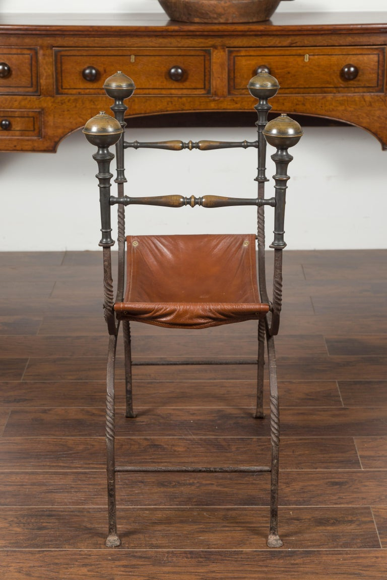 Italian 1900s Leather Seat Iron Folding Curule Stool with Toupie Finials For Sale 8