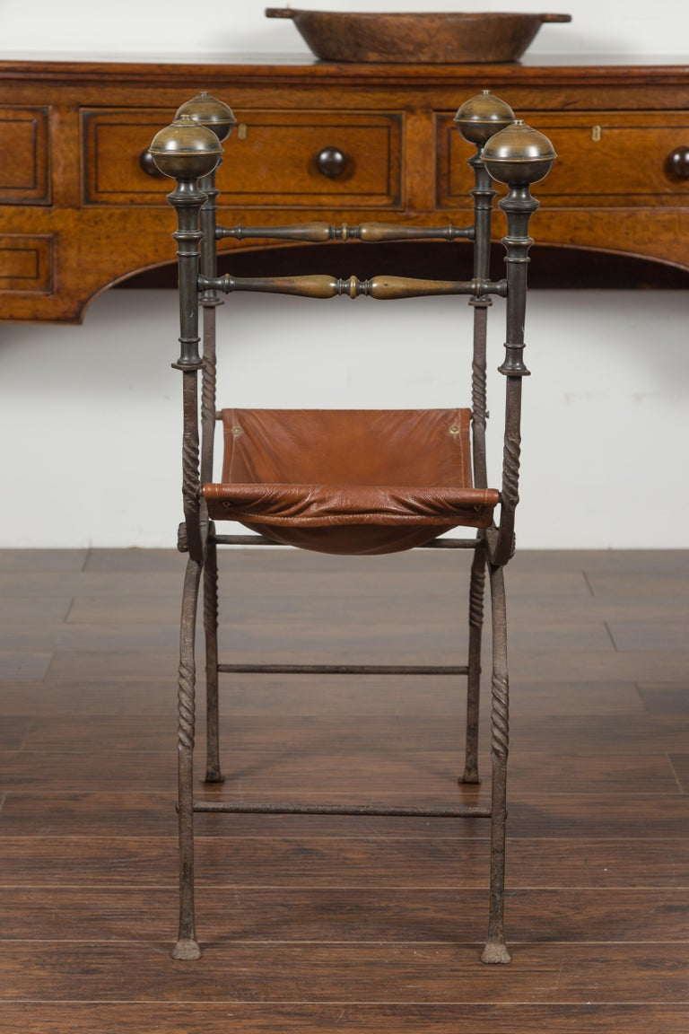 Italian 1900s Leather Seat Iron Folding Curule Stool with Toupie Finials For Sale 10