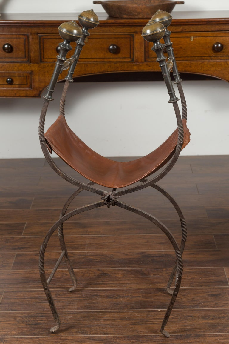 Italian 1900s Leather Seat Iron Folding Curule Stool with Toupie Finials For Sale 12