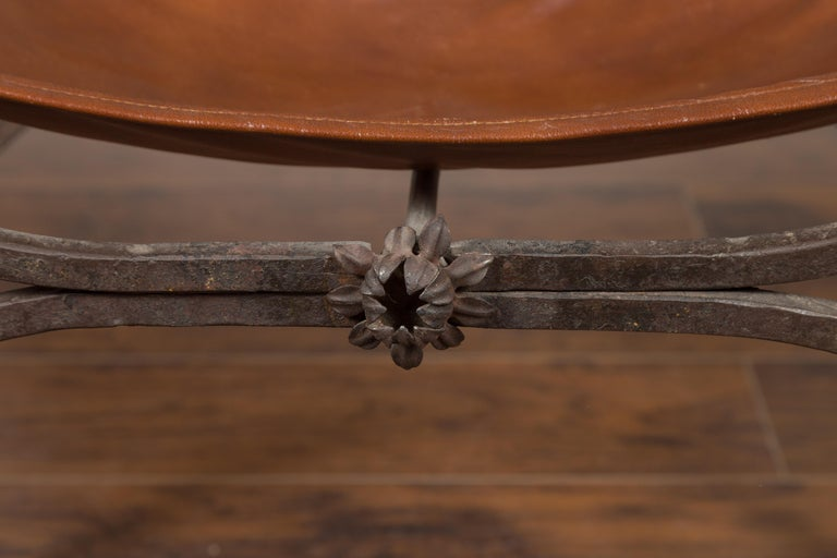 20th Century Italian 1900s Leather Seat Iron Folding Curule Stool with Toupie Finials For Sale