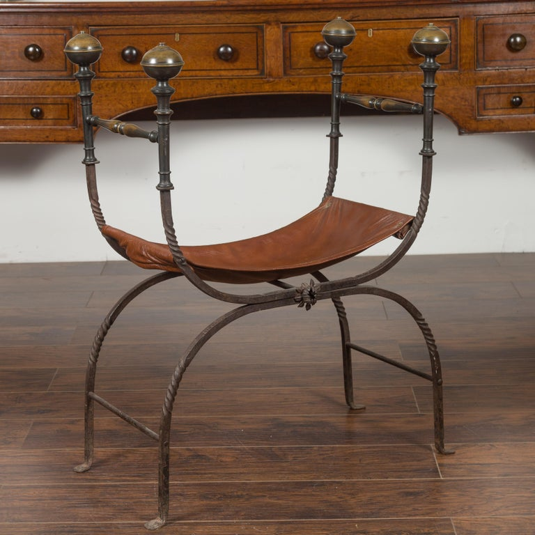 Italian 1900s Leather Seat Iron Folding Curule Stool with Toupie Finials For Sale 5