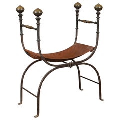 Italian 1900s Leather Seat Iron Folding Curule Stool with Toupie Finials