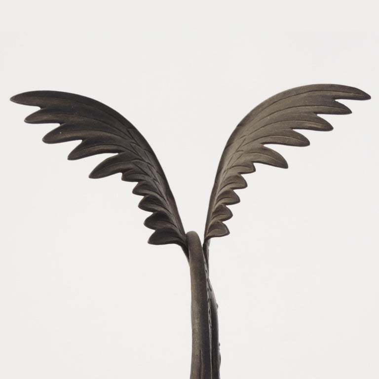 Italian 1920s Art Deco Wrought Iron Parrot on a Marble Base In Good Condition For Sale In Milan, IT