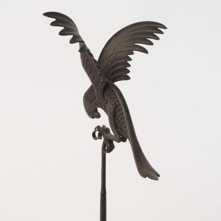 Italian 1920s Art Deco Wrought Iron Parrot on a Marble Base For Sale 3