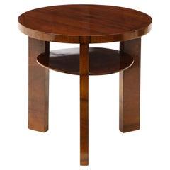Italian 1930s Art Deco Circular Walnut Side Table