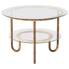 Italian 1930s Bauhaus Copper and Glass Side Table