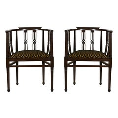 Italian 1930s Fine Pair Side Chairs Curved Back Dark Carved Wood with Armrests