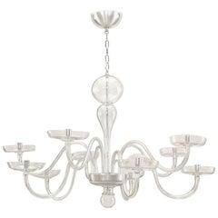 Italian 1930s Murano Clear Glass Chandelier