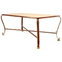 Italian Red Lacquered Iron and Marble Dining Table Attributed to Persico