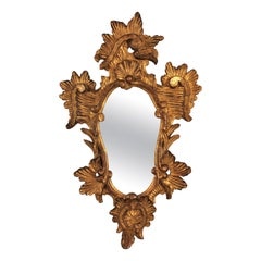 Italian 1930s Rococo Style Carved Gold Leaf Giltwood Mirror
