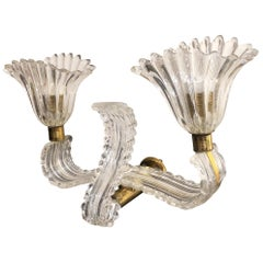 Italian 1940 Glass and Brass Barovier Style Double Lights Wall Sconce