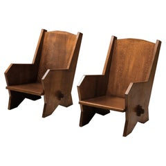 Italian 1940s Armchairs in Stained Beech