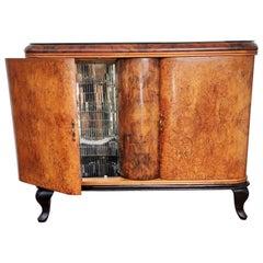 Italian 1940s Art Deco Midcentury Walnut Burl and Mirror Mosaic Dry Bar Cabinet