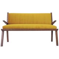 Italian 1940s Bench in Wood and Yellow Velvet Upholstery