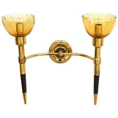 Italian 1940s Brass and Ebonized Wood Two-Arm Wall Sconce