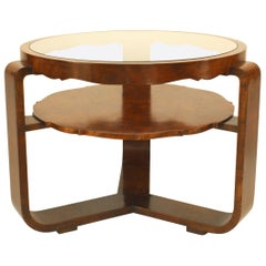 Italian 1940s Burl Walnut Circular Coffee Table