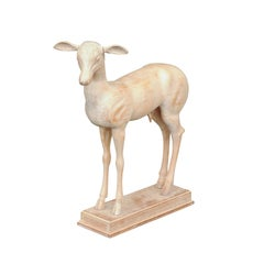 Italian 1940s Carved Wooden Cream Colored Pompeian Style Deer Mounted on Base