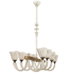 Italian 1940s Chandelier with Metal Frame Having Four Pair of Feather Form Arms