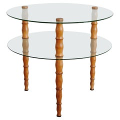 Italian 1940s Circular Two Tier Glass and Turned Wood Coffee Table