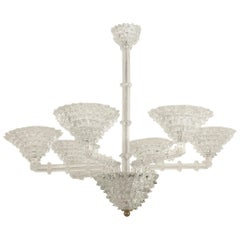 Italian 1940s Clear Glass 6-Arm Chandelier