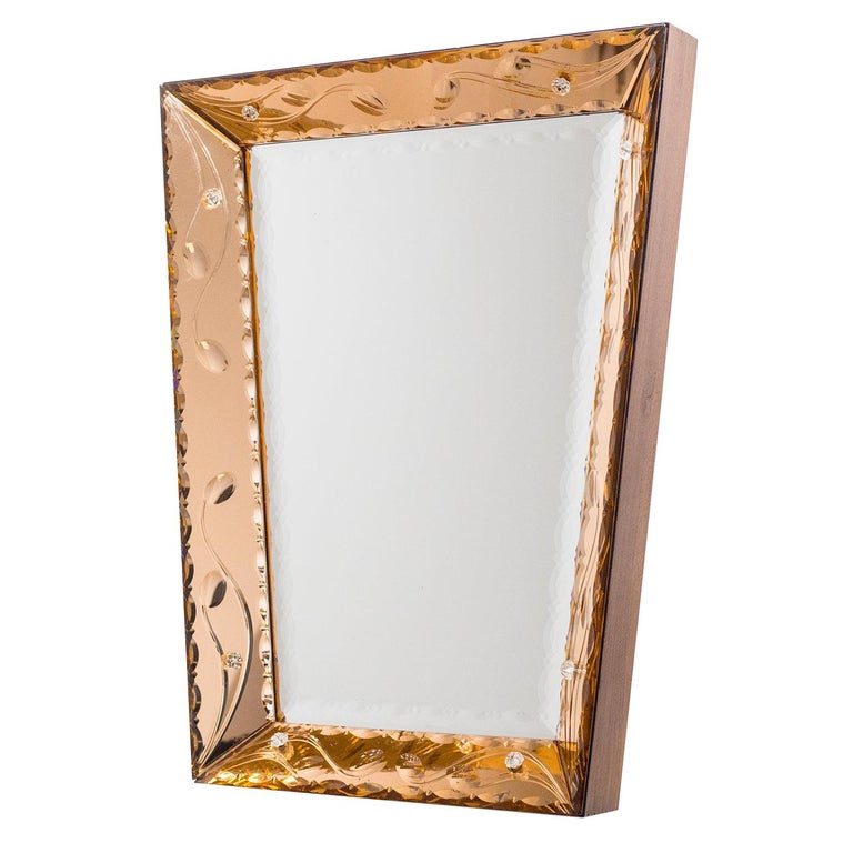 Italian 1940s Cut Crystal Mirror For Sale