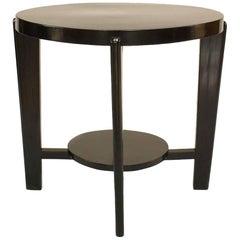 Italian 1940s Ebonized Round Coffee Table