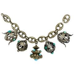 Italian 1940s Etruscan 800 Silver Large Charm Bracelet