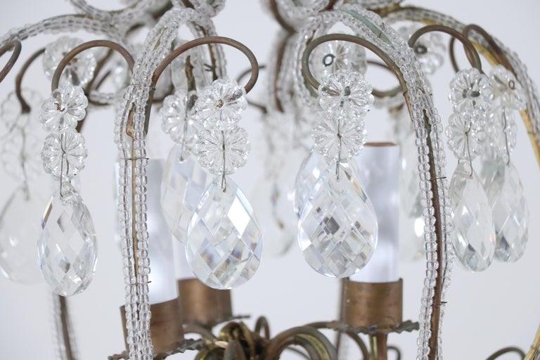 Mid-20th Century Italian 1940s Italian Crystal Beaded Chandelier For Sale