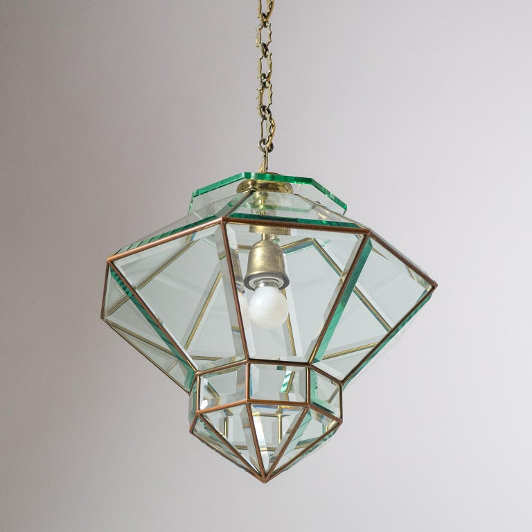 Italian 1940s Lantern, Faceted Glass and Brass For Sale 5