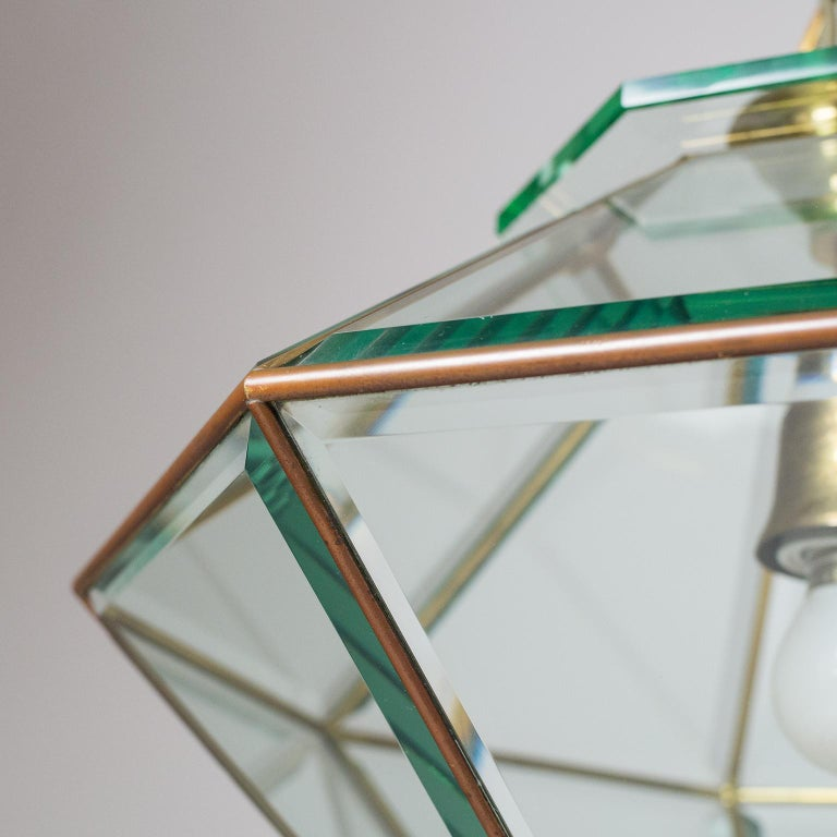 Italian 1940s Lantern, Faceted Glass and Brass For Sale 6