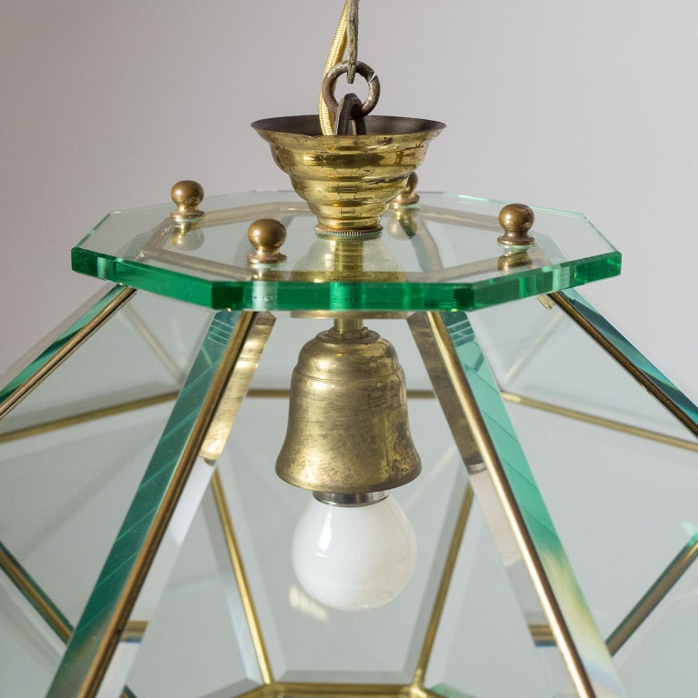 Italian 1940s Lantern, Faceted Glass and Brass For Sale 7