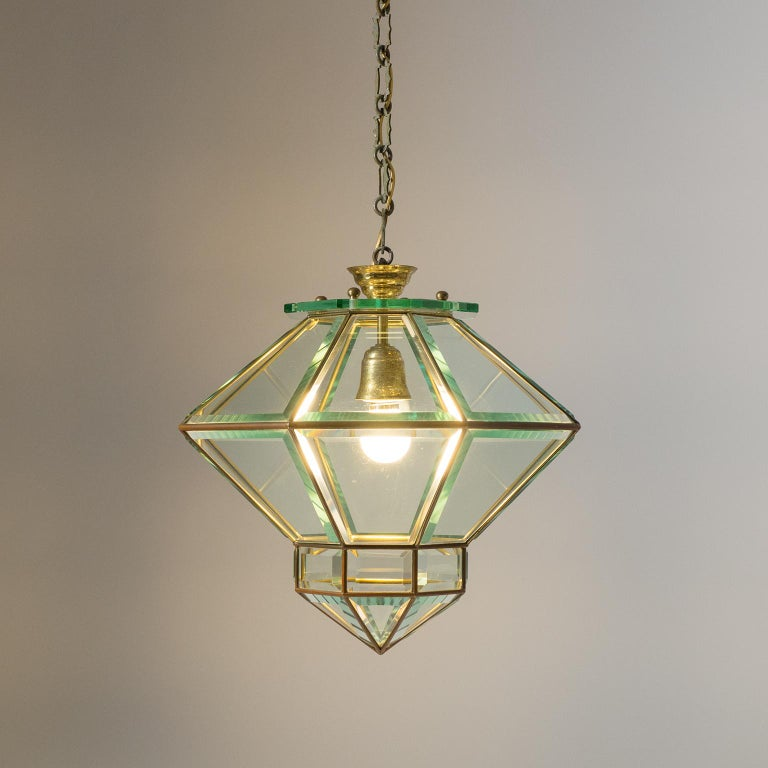 Italian 1940s Lantern, Faceted Glass and Brass For Sale 8
