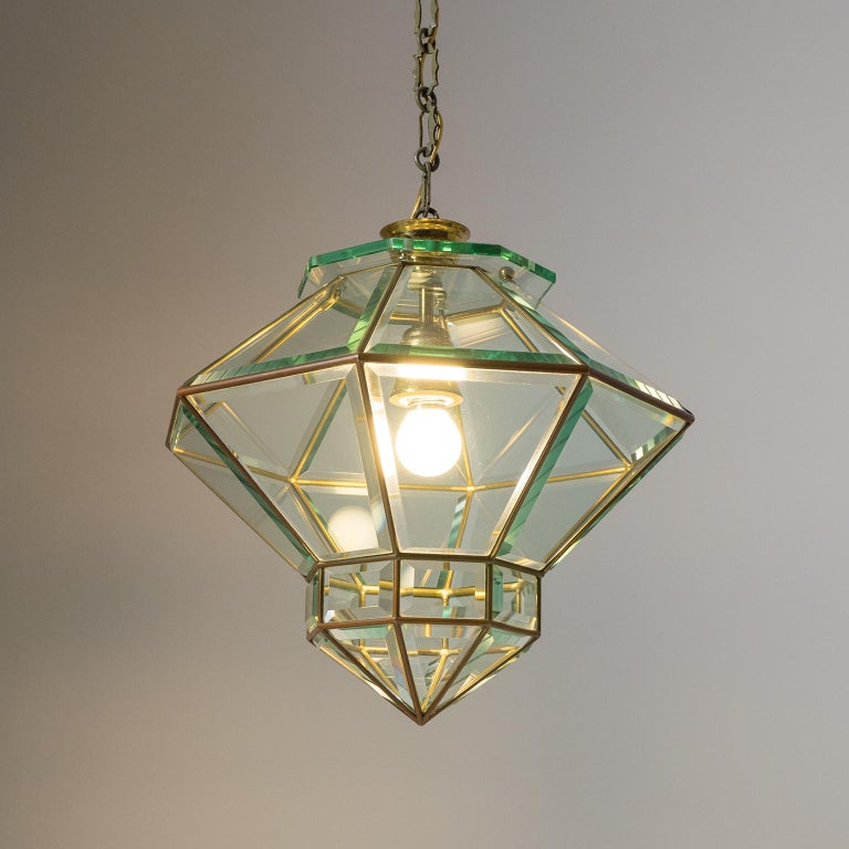 Italian 1940s Lantern, Faceted Glass and Brass For Sale 9