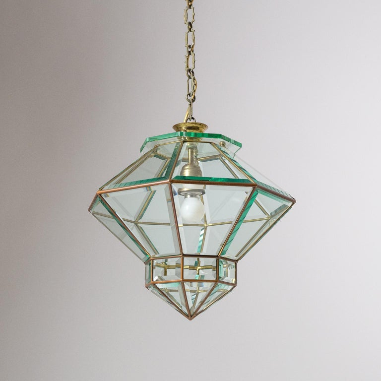 Italian 1940s Lantern, Faceted Glass and Brass For Sale 10