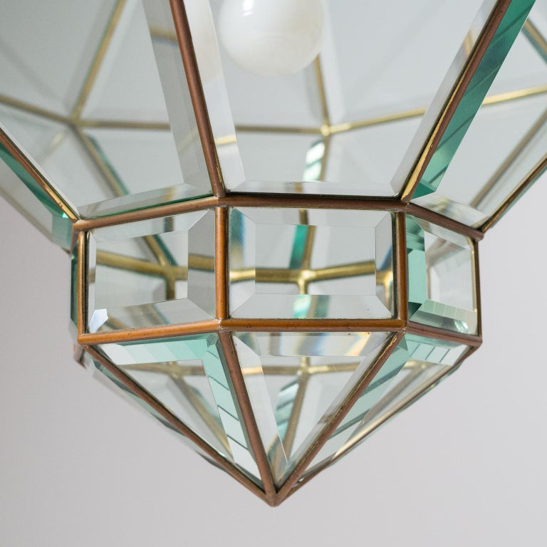 Italian 1940s Lantern, Faceted Glass and Brass For Sale 11